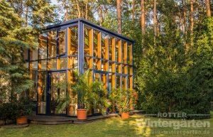 Wintergarten Holz Alu zweigeschossig groß Garten