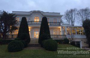Wintergarten Holz Alu weiss Laterne LED Lampen