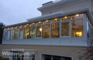 Wintergarten Holz Alu weiß Laterne LED Lampen