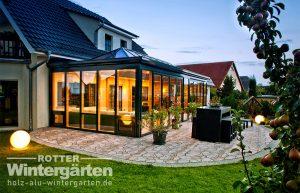 Wintergarten Holz Alu Orangerie Beleuchtung LED Lampen
