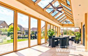 Wintergarten Holz Alu Orangerie Sonnenschutzglas Glas