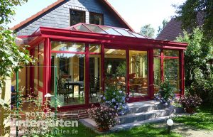 Wintergarten Holz Alu Sonnenschutzglas Terrasse