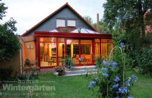 Wintergarten Holz Alu Lampe Terrasse
