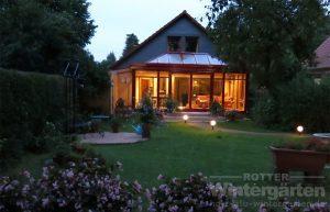 Wintergarten Holz Alu Beleuchtung Lampe