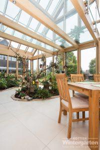 Wintergarten Holz Alu Glashaus zweigeschossig groß