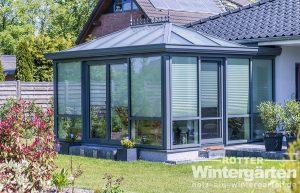 Wintergarten Holz Alu Sonnenschutzglas Beleuchtung Beschattung