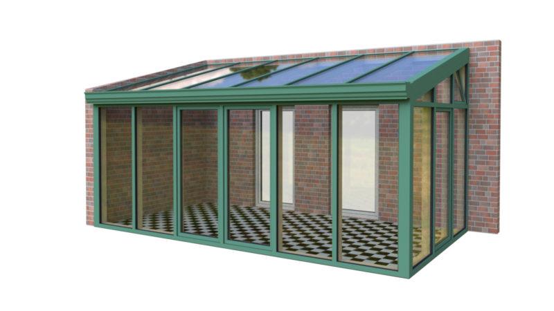 Wintergarten Holz Aluminium Pultdach zweiseitig