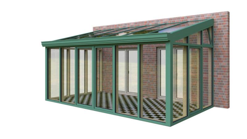 Wintergarten Holz Aluminium Pultdach dreiseitig