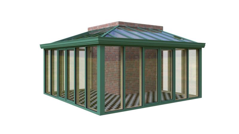 Wintergarten Holz Aluminium Pultdach Aussenecke