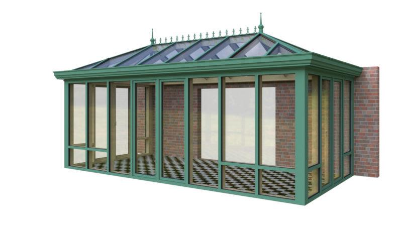 Wintergarten Holz Aluminium Walmdach englischer Stil