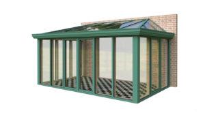 Wintergarten Holz Aluminium Pultdach mit Dachschräge