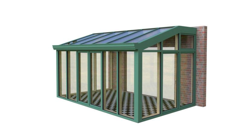 Wintergarten Holz Aluminium Pultdach mit Schrägen