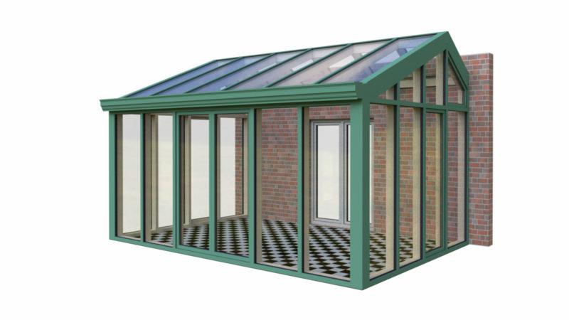 Wintergarten Holz Aluminium Satteldach quer