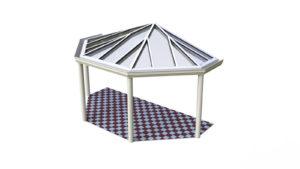 Terrassenüberdachung Holz Aluminium Pultdach Halbpolygon